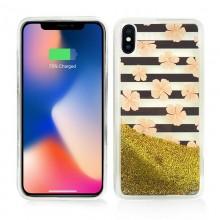 Zizo Liquid Glitter Star Case - Etui iPhone X (Pink Flowers)