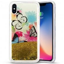Zizo Liquid Glitter Star Case - Etui iPhone X (Butterflies)