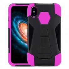 Zizo Dual Layered Hybrid Cover - Pancerne etui iPhone Xs / X z podstawką (Pink)