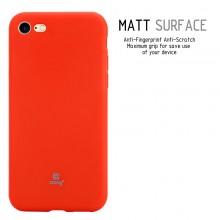 Crong Soft Skin Cover - Zestaw etui iPhone SE 2020 / 8 / 7 (czerwony) + szkło hybrydowe 9H (biała ramka)