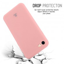 Crong Soft Skin Cover - Zestaw etui iPhone SE 2020 / 8 / 7 (różowy) + szkło hybrydowe 9H (biała ramka)