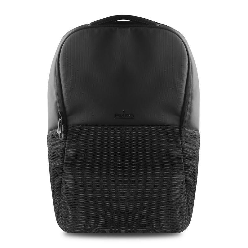 """PURO Bynight - Odblaskowy plecak z zewnętrzym portem USB MacBook Pro 15"""" / Notebook 15.6"""" (czarny)"""