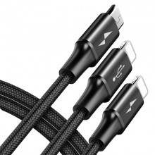 Baseus Rapid - Kabel połączeniowy 3w1, 2 x Lightning + USB + micro USB, 1.2 m (czarny)