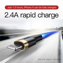 Baseus Cafule Cable - Kabel połączeniowy USB do Lightning, 2.4 A, 0.5 m (złoty/czarny)
