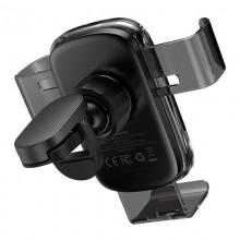 Baseus Explore - Uchwyt samochodowy z ładowarką indukcyjną QI 15W (czarny)