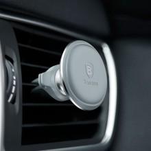 Baseus Magnetic Air Vent - Magnetyczny uchwyt samochodowy na kratkę wentylacyjną z klipsem na 2 kable (srebrny/czarny)