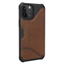 UAG Metropolis LTHR ARMR - skórzana obudowa ochronna z klapką do iPhone 12 Pro Max (brązowa)