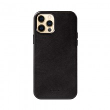 Crong Essential Cover Magnetic - Etui ze skóry iPhone 12 Pro Max MagSafe (czarny)