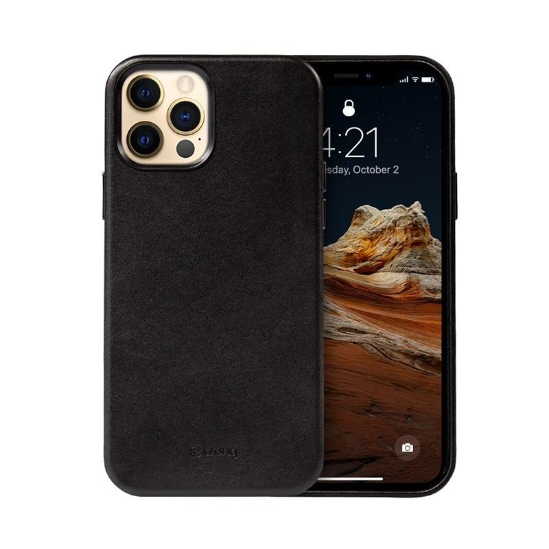 Crong Essential Cover - Etui ze skóry ekologicznej iPhone 12 Pro Max (czarny)