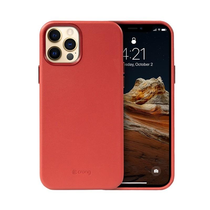 Crong Essential Cover - Etui ze skóry ekologicznej iPhone 12 Pro Max (czerwony)