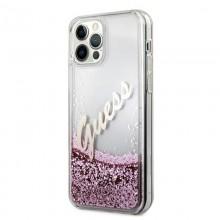 Guess Glitter Vintage Script - Etui iPhone 12 / iPhone 12 Pro (różowy)