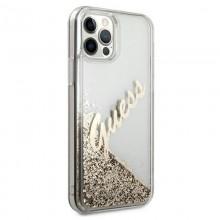 Guess Glitter Vintage Script - Etui iPhone 12 Pro Max (złoty)