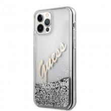 Guess Glitter Vintage Script - Etui iPhone 12 Pro Max (srebrny)