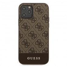 Guess 4G Bottom Stripe Collection - Etui iPhone 12 Pro Max (brązowy)