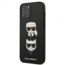 Karl Lagerfeld Saffiano Karl & Choupette Heads - Etui iPhone 12 Pro Max (czarny)