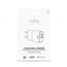 PURO White Mini Travel Fast Charger – Ładowarka sieciowa 2 x USB-A 12 W, 2.4 A (biały)
