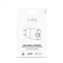 PURO White Mini Travel Fast Charger – Ładowarka sieciowa USB-A 12 W 2.4 A (biały)