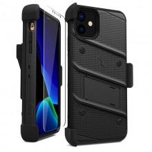 Zizo Bolt Cover - Pancerne etui iPhone 11 ze szkłem 9H na ekran + podstawka & uchwyt do paska (Black/Black)