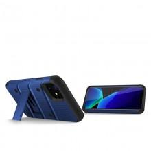 Zizo Bolt Cover - Pancerne etui iPhone 11 ze szkłem 9H na ekran + podstawka & uchwyt do paska (Blue/Black)