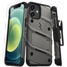Zizo Bolt Cover - Pancerne etui iPhone 12 Mini ze szkłem 9H na ekran + podstawka & uchwyt do paska (szary)