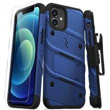 Zizo Bolt Cover - Pancerne etui iPhone 12 / iPhone 12 Pro ze szkłem 9H na ekran + podstawka & uchwyt do paska (niebieski/czarny)