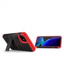 Zizo Bolt Cover - Pancerne etui iPhone 11 ze szkłem 9H na ekran + podstawka & uchwyt do paska (Black/Red)