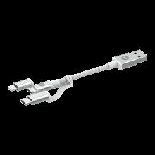 Mophie - kabel ze złączami USB-C, microUSB, USB A oraz lightning 1m (biały)