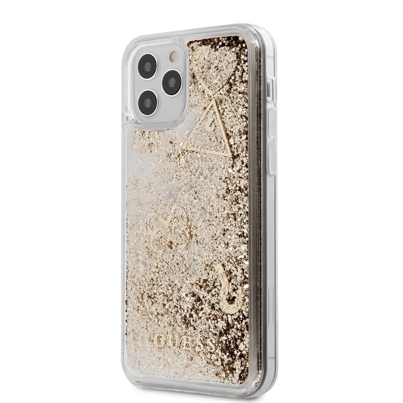 Guess Liquid Glitter Charms - Etui iPhone 12 Pro Max (złoty)
