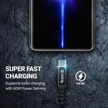 Crong Armor Link – Kabel 60W z USB-C na USB-C w oplocie 150cm (czarny)