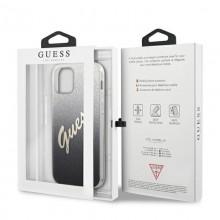 Guess Glitter Gradient Script - Etui iPhone 12 / iPhone 12 Pro (czarny)
