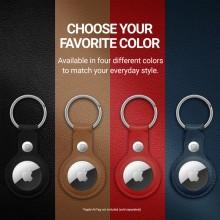 Crong Leather Case with Key Ring – Skórzany brelok do Apple AirTag (czarny)