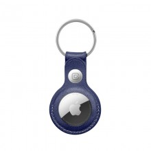 Crong Leather Case with Key Ring – Skórzany brelok do Apple AirTag (granatowy)