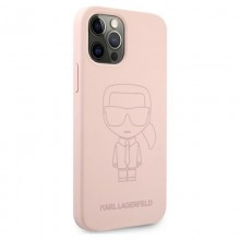 Karl Lagerfeld Silicone Ikonik Outline - Etui iPhone 12 / iPhone 12 Pro (różowy)