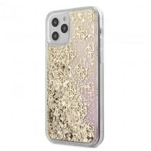 Guess 4G Liquid Glitter - Etui iPhone 12 Pro Max (złoty/różowy)