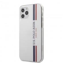 US Polo Assn Shiny Tricolor Stripes - Etui iPhone 12 / iPhone 12 Pro (biały)