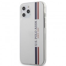 US Polo Assn Shiny Tricolor Stripes - Etui iPhone 12 Pro Max (biały)