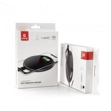 Crong PowerSpot Fast Wireless Charger – Bezprzewodowa ładowarka Qi 15W USB-C (Silver White)