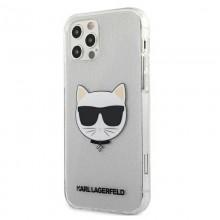Karl Lagerfeld Choupette Head Glitter - Etui iPhone 12 / iPhone 12 Pro (Silver)