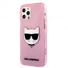 Karl Lagerfeld Choupette Head Glitter - Etui iPhone 12 / iPhone 12 Pro (Pink)