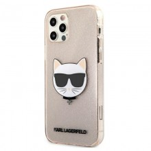 Karl Lagerfeld Choupette Head Glitter - Etui iPhone 12 / iPhone 12 Pro (Gold)