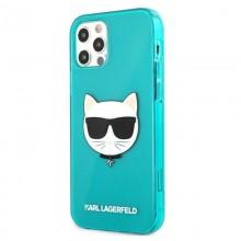 Karl Lagerfeld Choupette Head - Etui iPhone 12 / iPhone 12 Pro (Fluo Blue)