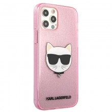 Karl Lagerfeld Choupette Head Glitter - Etui iPhone 12 Pro Max (Pink)
