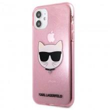 Karl Lagerfeld Choupette Head Glitter - Etui iPhone 11 (Pink)
