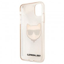 Karl Lagerfeld Choupette Head Glitter - Etui iPhone 11 (Gold)