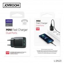 JOYROOM L-2A123 2-PORT NETWORK CHARGER 2.4A/12W BLACK