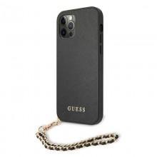 Guess Saffiano Chain - Etui iPhone 12 / iPhone 12 Pro (czarny)