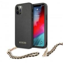 Guess Saffiano Chain - Etui iPhone 12 Pro Max (czarny)