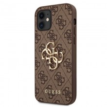 Guess 4G Big Metal Logo - Etui iPhone 12 mini (brązowy)