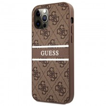 Guess 4G Stripe Collection - Etui iPhone 12 / iPhone 12 Pro (brązowy)