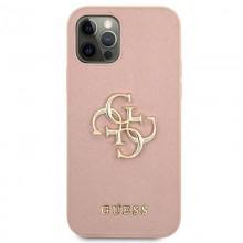 Guess Saffiano 4G Big Metal Logo - Etui iPhone 12 Pro Max (różowy)